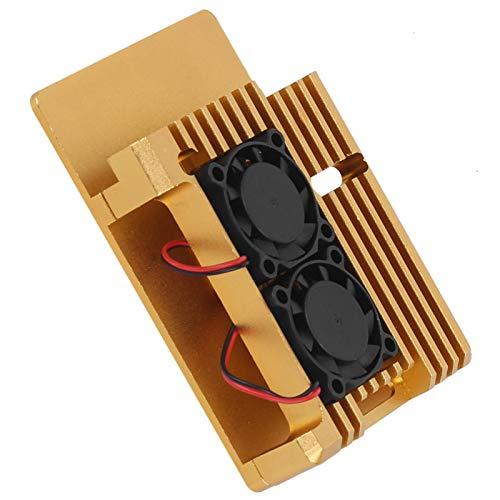 Jeanoko Caja de protección Estable Caja de protección de tamaño pequeño Gran disipación de Calor Armadura con Accesorio de Caja de Ventilador de refrigeración Doble para Raspberry Pi 3 Modelo 2B /