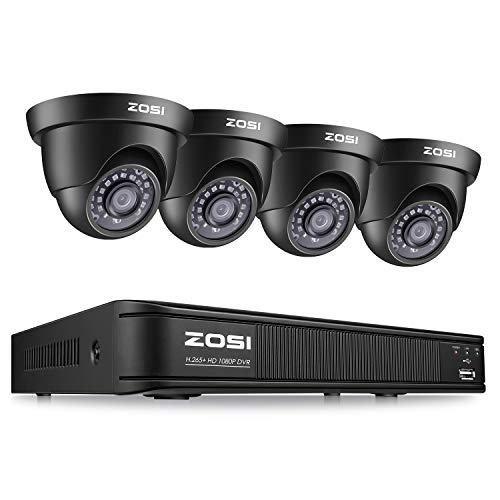 ZOSI 1080P Security Camera System for Home, H.265+ CCTV DVR 4 Channel and 4 x 1080p (2MP) Weatherproof Dome Camera Outdoor/Indoor, Remote Access, Motion Deteion (No Hard Drive)
