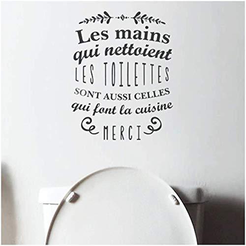 Sticker Citation Les Mains qui Nettoient les Toilettes 70 x 20cm