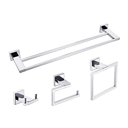Miyili 4-Pieces Bathroom Hardware Set Wall Mounted Polished Stainless Steel - Includes Double Towel Bar, Towel Ring, Toilet Paper Holder, Robe Hook, BS04C4