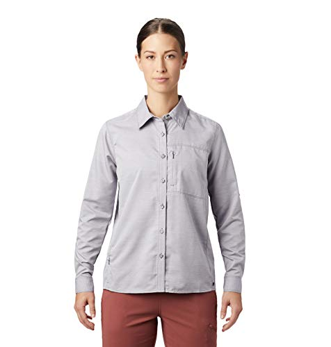 Mountain Hardwear Canyon Women's Long Sleeve Shirt for Hiking, Backpacking, and Everyday, UPF 50, Breathable, Wrinkle-Resistant - Dusted Sky - X-Small
