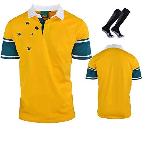 1999 Australian Retro Rugby-Jersey-T-Shirt, Fußball-Uniform für Männer, Sweatshirt, mit Socken XL