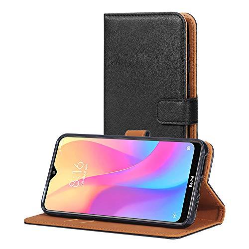 AICEK Funda Compatible Xiaomi Redmi 8A, Cuero PU Funda para Xiaomi Redmi 8A Libro Carcasa Case Cierre Magnético Ranuras para Tarjetas Negro (6,2 Pulgadas)