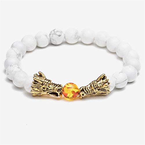JPSOUP Stone Bracelet Women,7 Chakra Natural Stone Bead White Turquoise Bracelet Lucky Yoga Golden Dragon Elastic Bangle Elegant Jewelry For Ladies