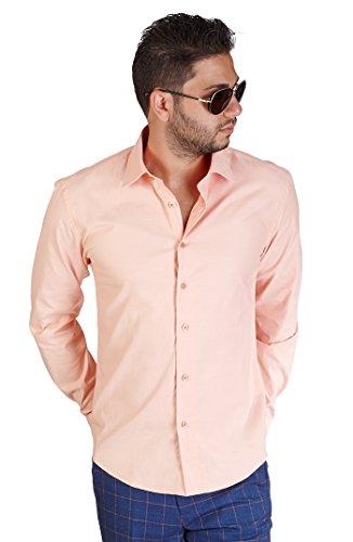 AZAR MAN New Men's Slim Fit Men's Solid Color Dress Shirts Spread Collar (Medium 15, Peach Orange)