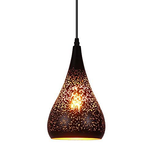 SISVIV Lámpara Colgante Vintage Industrial Lámpara de Techo Luz Diseño Oriental E27 Casquillo para Restaurante Comedor Cocina, Color Negro