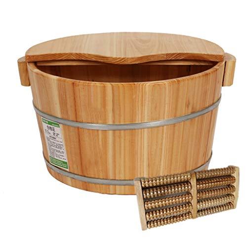 CHY Foot Spa avec Couvercle, Pieds Baignoire en Bois for Massage Pieds Et Soaking Pédicure, Sauna Big Footbath Seau Et Soaker Bowl, 21cm (Color : Wood Color)