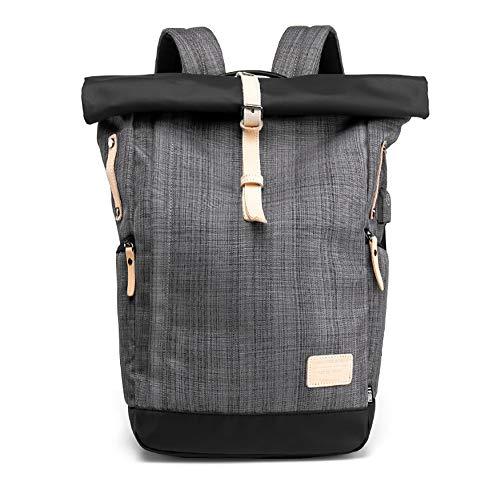 Laptop-Rucksack, Outdoor-Reisetasche, USB Externe Aufladung, wasserdicht, Anti-Scratch,Kariertes Grau