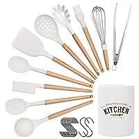 corafei set di utensili da cucina, 21pezzi utensili cucina silicone cucina accessori antiaderente set di attrezzi cucina con manico in legno e contenitore e spatola gancio
