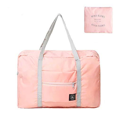 NANAOUS - Borsa da viaggio per weekend, in tela, con tracolla, da spiaggia, 48 x 32 x 16/32 x 21,1 x 16 cm, leggera, impermeabile, pieghevole, per trasportare borse, borsa a tracolla, rosa, 21*18 cm,