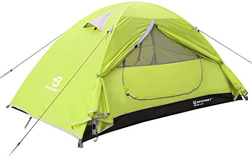 Bessport Camping Tent for 2 Person Lightweight Backpacking Tents Waterproof Two Doors Easy Setup 4 Season Outdoor Dome Tent for Beach Hiking Festival-Limeade