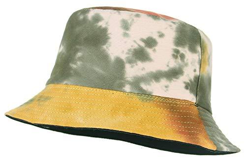 Cloudkids Sombrero Pescador Mujer Hombre Algodón Estampado Tie-Dye Plegable Bob Sombrero de Sol Unisex 58cm Vintage Gorra Viajar Casuel Verano (Verde)