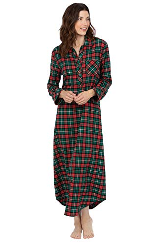 PajamaGram Christmas Nightgown for Women - Flannel Nightgown Women, Red, S 4-6