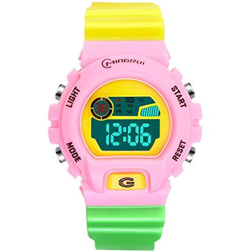 Reloj Deportivos para Niños Niño Niña Resistente al Agua Digital Impermeabl al Aire Libre LED Reloj Multifuncionales (Rosa-1)