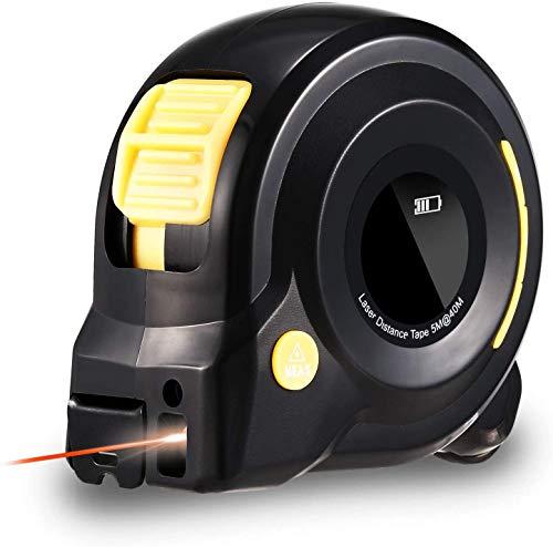 Massband Laser Entfernungsmesser, HOLULO 3 in 1 Digital Laser Entfernungsmesser mit LCD Display, 40m Maßband Laser Messgerät und 5m Massband, Pythag