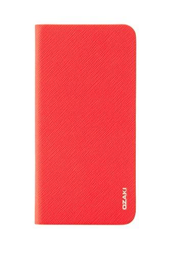 Ozaki OC581RD 0.4 Folio stylische, dünne Klapp-Tasche aus widerstandsfähigem Kunstleder für das Apple iPhone 6 Plus / 6S Plus rot