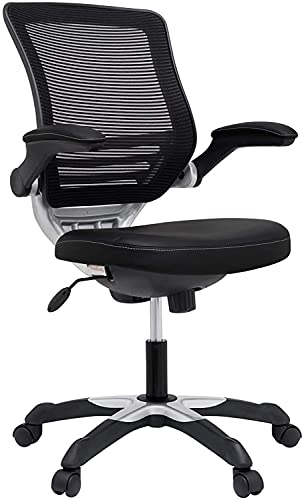 Modway Edge Mesh Back and White Vinyl Seat Office Chair With Flip-Up Arms - Computer Desks in Black