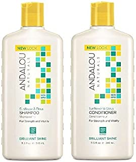 Andalou Naturals Sunflower & Citrus Brilliant Shine Shampoo and Conditioner Bundle, 100% Sulfate Free and Color Safe, 11.5...