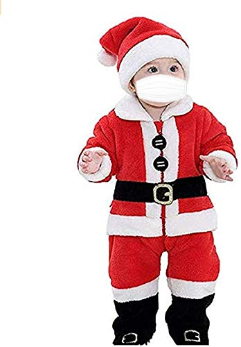 Miaouyo Baby Christmas Santa Claus Costumes Set Newborn Boys Girls First Christmas Santa Hat + Coat + Trousers + 4Pcs Toddlers Xmas Party Outfits Set (red, 9-12 Months)