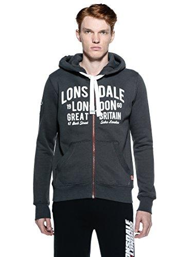 Lonsdale Herren Sweatshirt Kapuzensweatjacke West Bromwich grau (Anthrazit) Small