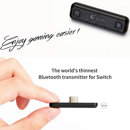 GULIkit Route Air Pro Bluetooth Adapter Audio Transmitter für Nintendo Switch/Switch Lite PS4 PC, USB-C Bluetooth Dongle mit aptX Low Latency kompatibel mit Bluetooth Kopfhörer - Schwarz