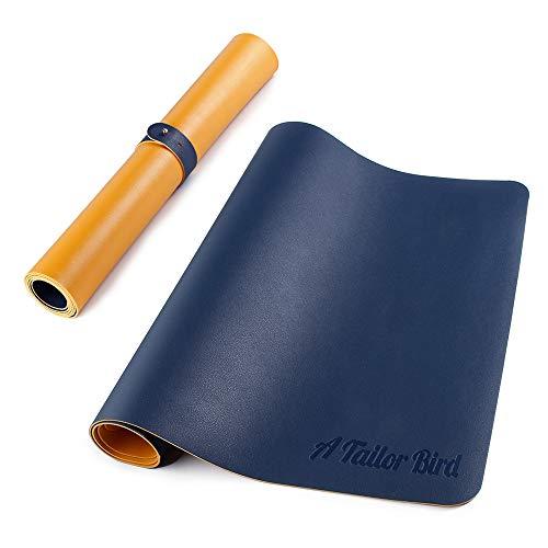 AtailorBird Doble Cara Alfombrilla Escritorio,800 * 400mm Alfombrilla Raton Grande Antideslizante e Impermeable Cuero PU Protector de Escritorio(Azul-Amarillo)