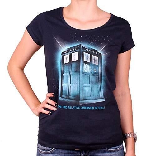 El doctor Who Tardis damas Camiseta Espacio para algodón azul serie - L
