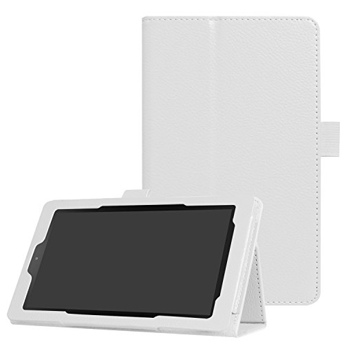 Asng All-New Fire 7 2017 / Fire 7 2015 Case - Premium PU Leather Folio Stand Cover Case for All-New Fire 7 Tablet with Alexa (7th Gen, 2017 Release) / Fire 7 (5th Gen, 2015 Release) (White)