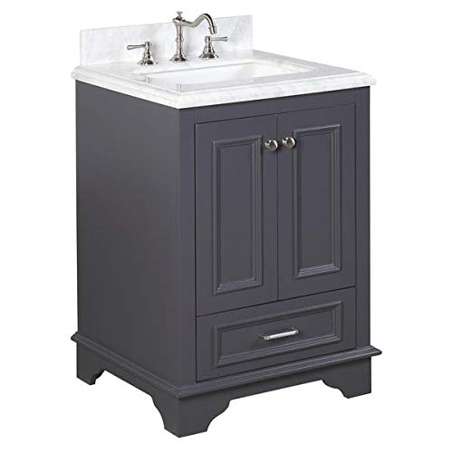 Nantucket 24-inch Bathroom Vanity (Carrara/Charcoal Gray): Includes Charcoal Gray Cabinet with Authentic Italian Carrara Marble Countertop and White Ceramic Sink