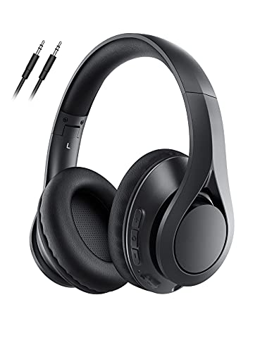 60Hrs Bluetooth Headphones, Over Ear Headphones with Microphone, Bluetooth 5.0, HiFi Stereo Sound, Protein Earpads, Foldable Wired Wireless Headset for Kids, Teens, Adults, Home Office, Online Class