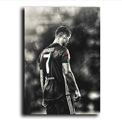 xiemengyangdeshoop Carteles De Estrellas Fútbol Jugador De Fútbol Cristiano Ronaldo Retrato Pintura Cabvas Imagen En Blanco Y Negro para El Diseño del Hogar 60X90Cm (Dy-1525)