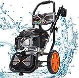 Hidrolimpiadora de Gasolina, 2800 PSI/190 Bar, 480 L/H, Motor OHV de 4 Tiempos de 209 CC, 6,5 HP, Tanque de jabón, Juego de 5 boquillas, Multiuso, Cumple con Carb-Hidrolimpiadora de Alta presión