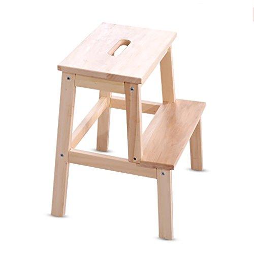 PENGFEI Pliable Stool Ladder Multifonction Usage Double 2 Étapes Bois Massif 3 Couleurs, 36 * 36 * 50 CM (Couleur : Couleur du bois)