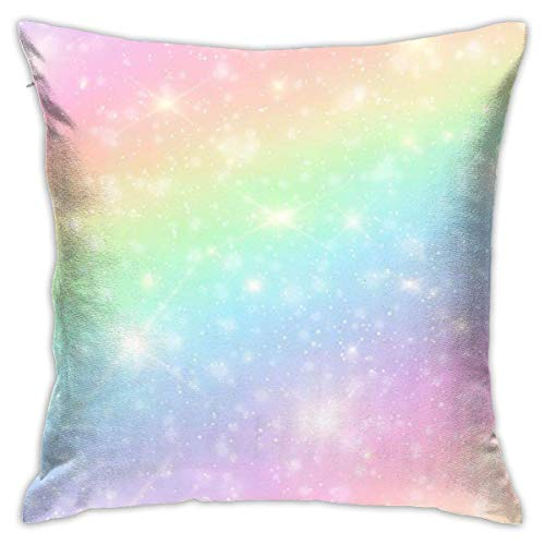 N/Q Unicorn in Sky with Rainbow Decorative Throw Pillow Cover Zippered Cushion Case for Home Sofa Bedroom Car Chair House Party Indoor Outdoor 18 X 18 Inch