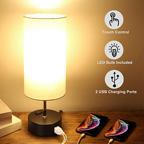 Touch Control Table Lamp, 3-Way Dimmable, Bedside Nightstand Lamp with Quick USB Charging Port & AC Outlet, Fabric Shade Modern Lamp for Bedroom Living Room Guest Room, 7W E26 Edison LED Bulb Included