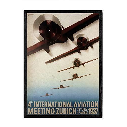 Nacnic Poster vintage de Aviones de guerra. Láminas para decorar interiores con imágenes vintage y de publicidad antigua. Cuadros decoración retro. Tamaño A3 con marco