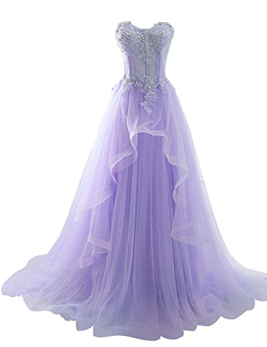 Sarahbridal Damen Bandeau Tüll perspektive Ballkleid Hochzeitskleid Brautkleid Abendkleider elegant mit Blumen Lila Gr. EU54