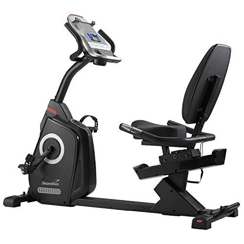 Skandika Veien - Ergometro/Cyclette Orizzontale - Video Event ed App Multiplayer - Sensori palmari - 32 Livelli di Resistenza regolati dal Computer