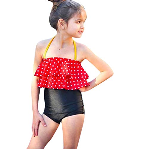 Giulot Toddler Baby Girl Swimwear Two Piece Swimsuit Bikini Set Bathing Suit Halter Top+Bottom Beach Outfit Swim Clothes Red