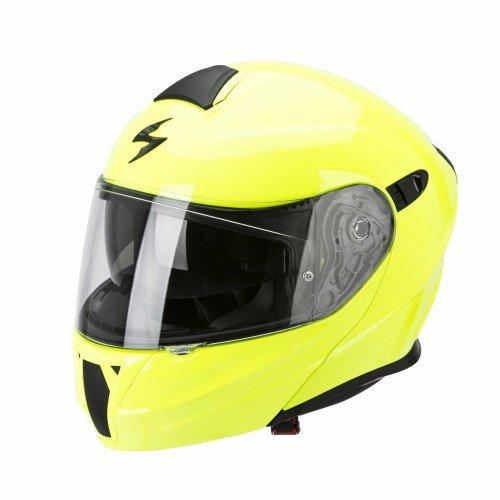 Casco de moto amarillo Neon con pantalla Solar interior Talla L