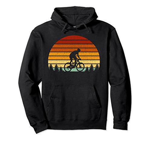 Vintage Sunset Mountain Biking Gift For Mountain Bikers Pullover Hoodie