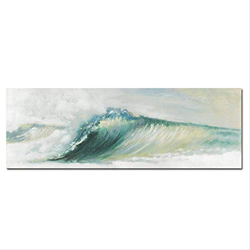 NOBRAND Green Ocean Wave Canvas Seascape Painting Abstract Modern Poster and Print Print Landscape Mural Living Room Sin Marco 30x90cm