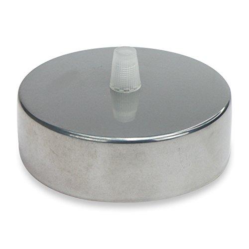 Lampen Baldachin aus Edelstahl chrome Ø 10 × H 3,1 cm - Abdeckung für Hängelampen und Befestigungsmaterial