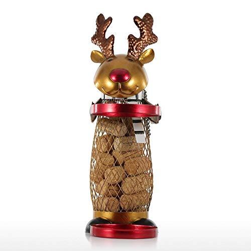 GLF Titular de la Botella de Vino Estante del Vino - Malla de Navidad del Reno de Vino Vino Rack Rack Animal Cork Contenedor de Adornos de Navidad prácticos Regalos Artesanía de Navidad