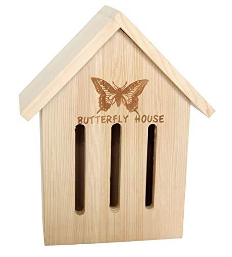 Gravidus Schmetterlingshaus Schmetterlingskasten Nistkasten mit Aufhänger aus Kiefernholz - unbehandelt & robust - Zum Schmetterlinge züchten für den Garten