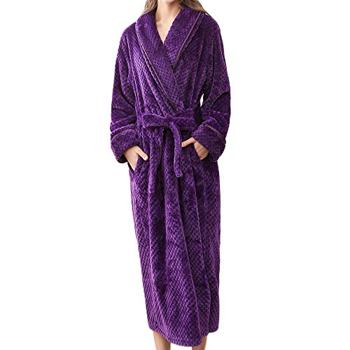 Dainzuy Sleepwear – Albornoz unisex de algodón para dormir, talla grande,  Púrpura, XL