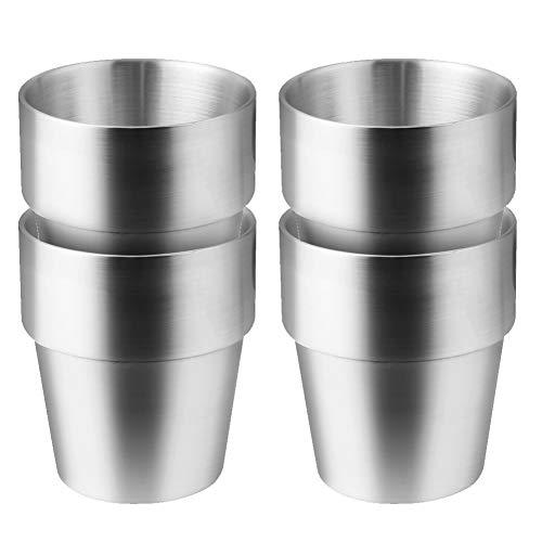 Edelstahlbecher 4 Stück Kaffeebecher Teebecher für Outdoor Camping Edelstahlbecher für Saft Bier Portionierungsbecher für Zuhause oder Reisen Wandern Becher unzerbrechlich Metall Becher (300ml)