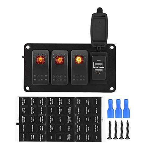ZHIXIANG Barco de Coche 3 Panel de interruptores de Naranja de pandillas + 3.4A Coche con Adhesivos de 45 Patrones Accesorios para automóviles Nuevo
