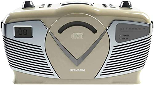 Sylvania Portable Cd Boombox with Am/FM Radio, Retro Style, Cream
