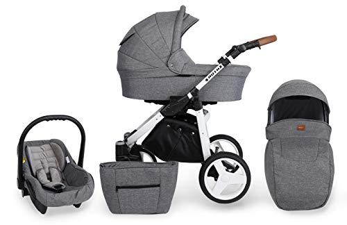 Kinderwagen Kunert ROTAX 3 in 1 Sportwagen Babywagen Autositz Babyschale NEU (Graues Leinen, Rahmenfarbe: Weiß)